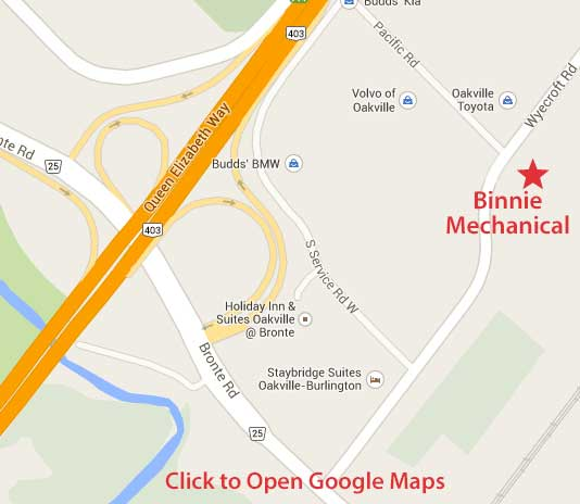 click to view google map of Binnie Mechanical location 2400 Wyecroft Rd Oakville Ont.